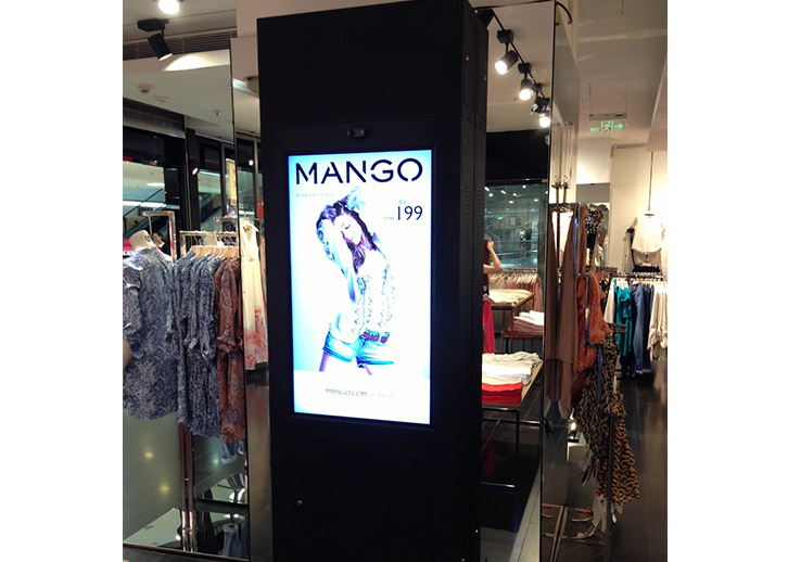 Freestanding digital displays for Mango