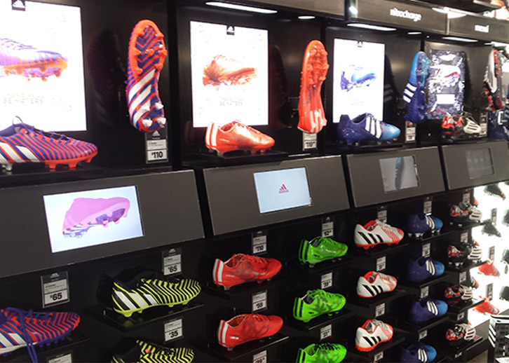 digital displays with open frame for Adidas shelf edge display