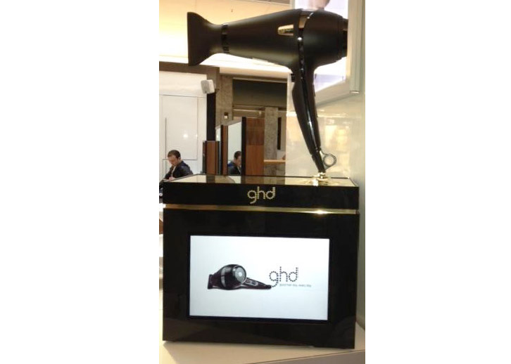Digital screens with metal frame for GHD